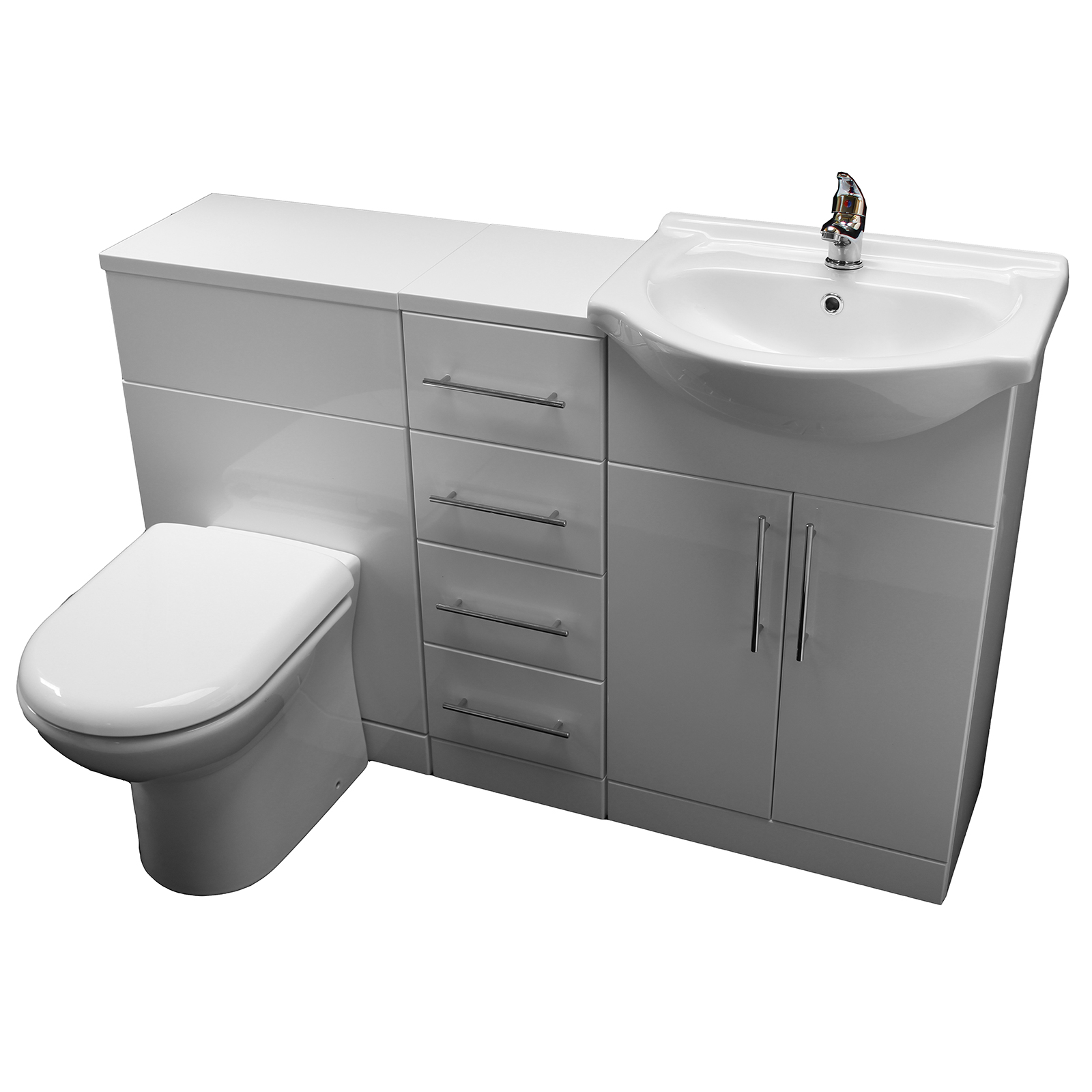 Allbits Eden White Gloss Wc Combination 550 Vanity Unit