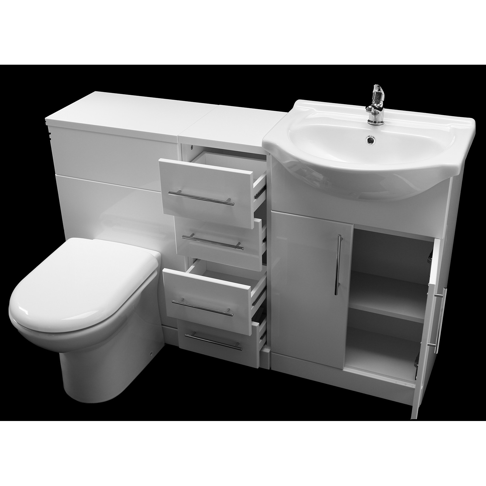 Allbits eden white gloss wc combination 650 vanity unit 4 drawer unit at allbits for Bathroom combination vanity units