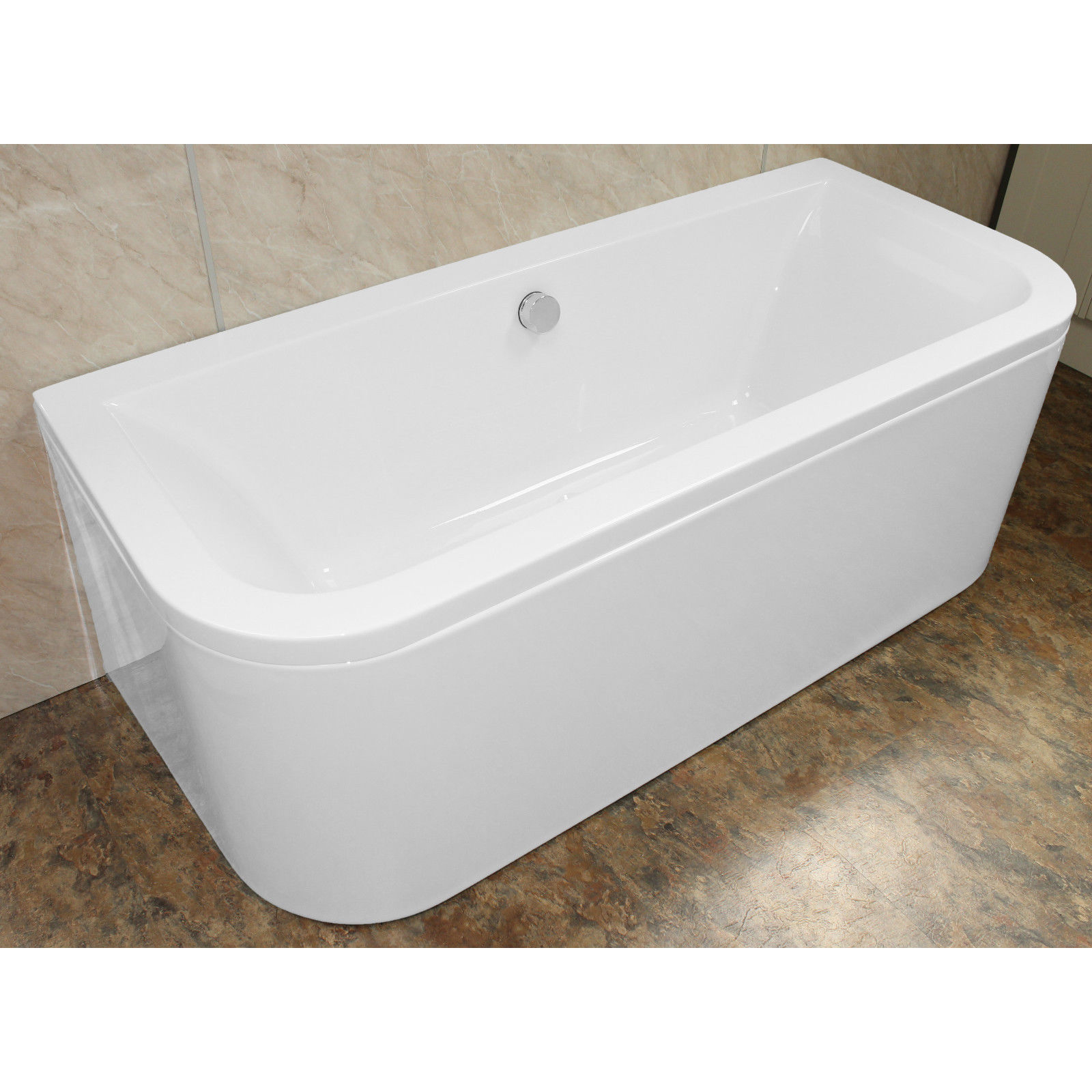 Eden D Shaped 1700 X 750 Double Ended Back To Wall Bath 163