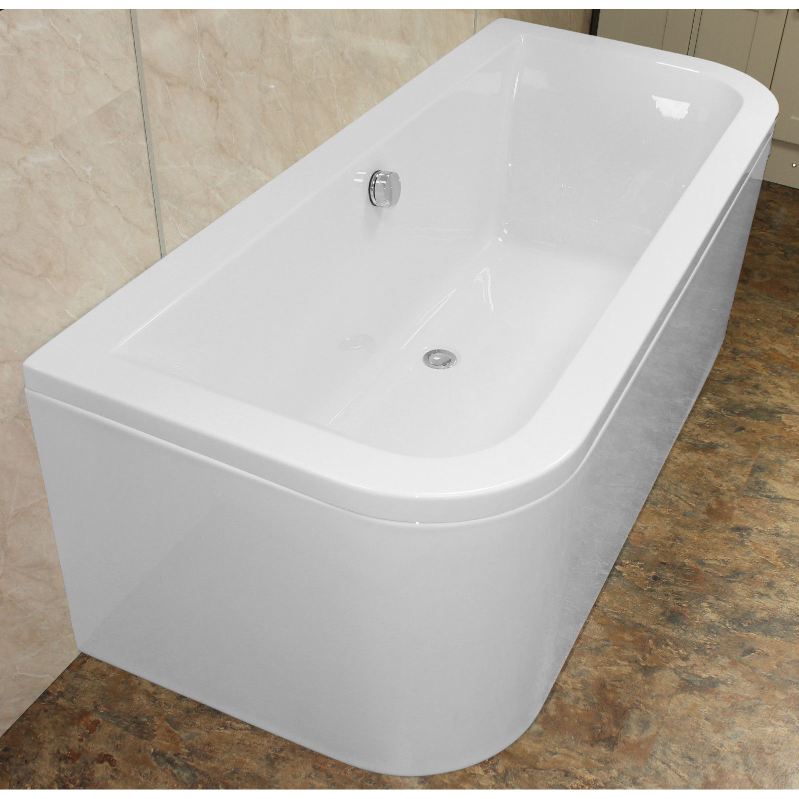 Eden D-Shaped 1700 x 750 Double Ended Back to Wall Bath ...