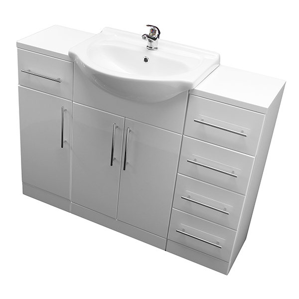 Allbits Eden 650 Vanity Unit with 1 Door & 4 Drawer Unit and Tap