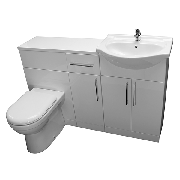 Allbits Eden White Gloss WC Combination 650 Vanity Unit & 1 Door Unit