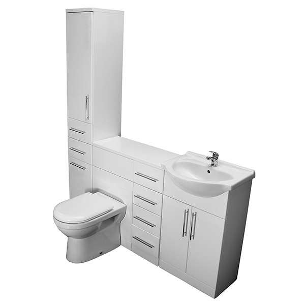 Allbits Eden WC, 650 Vanity,4 Drawer and Tall Unit Combination
