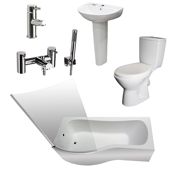 Allbits P Shape Bath Basin WC Suite LH