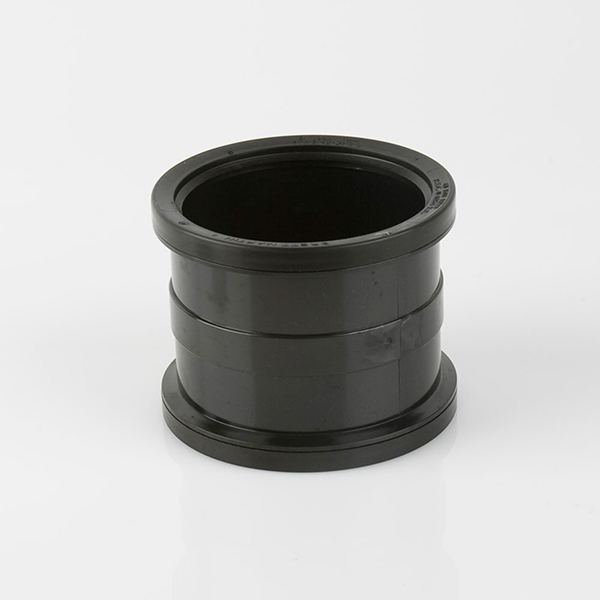 110mm Double Socket Pipe Connector Black