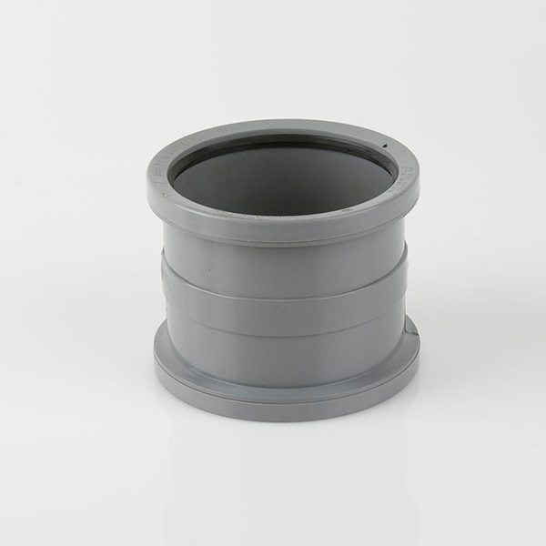 110mm Double Socket Pipe Connector Grey
