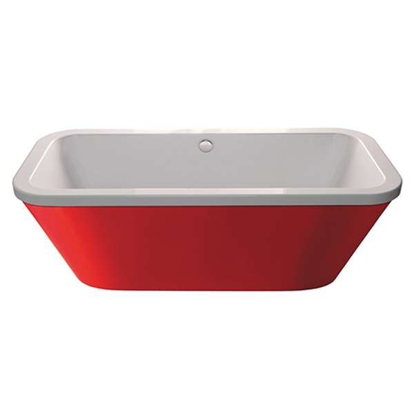 Halcyon Square White/Red Freestanding Bath