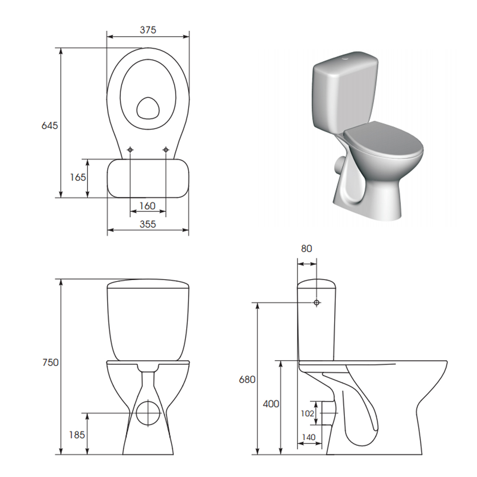 Cersanit Senator Close Coupled Toilet With Soft Close Seat