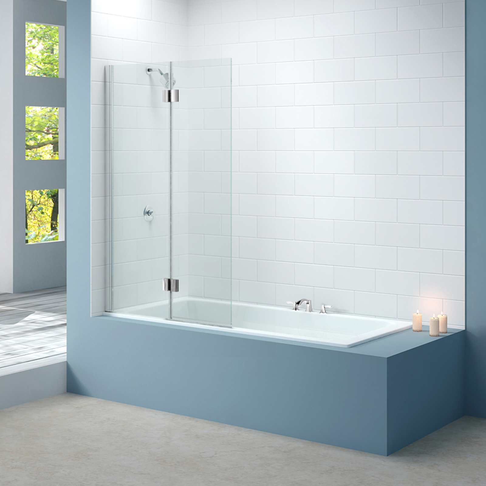 Merlyn Left Handed Hinged Square Bath Screen