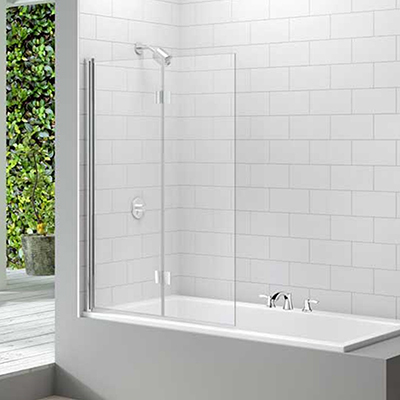 Merlyn Two Panel Hinged Square Bath Screen