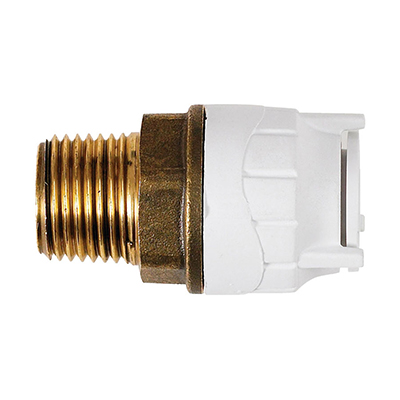 PolyFit 15mm x 1/2inch Male BSPT Adaptor Brass Body